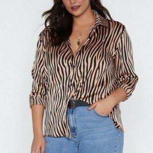 Nasty Gal Collection Zebra Print Satin Shirt